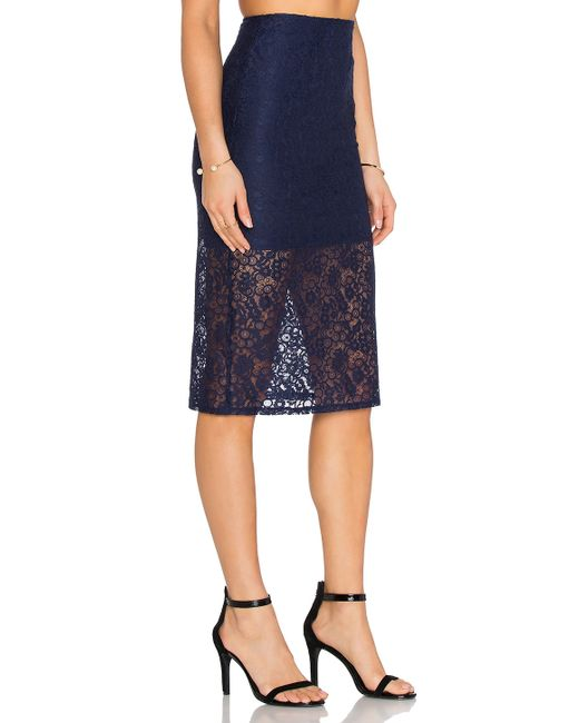 bcbgeneration lace pencil skirt in blue save 61 lyst