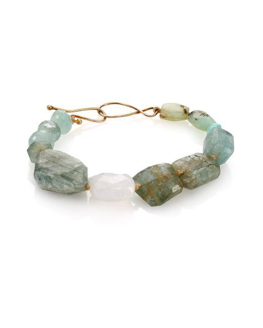 Lena Skadegard | Metallic Peruvian Opal, Chalcedony, Aquamarine & Moonstone Beaded Bracelet | Lyst