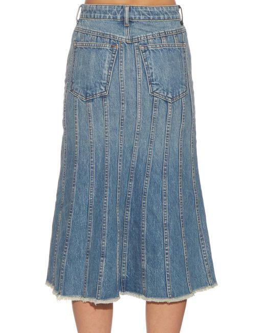 wang split front denim skirt in pink denim