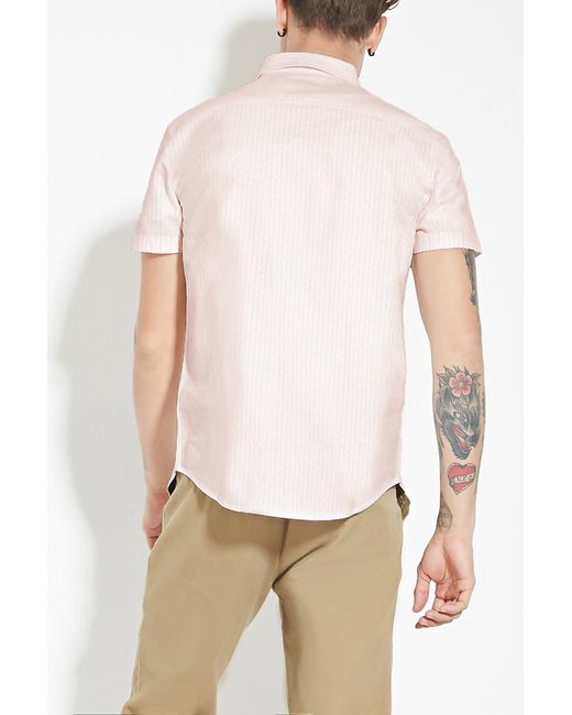 Forever 21 striped cotton shirt in pink for men pink for Pink white striped shirt