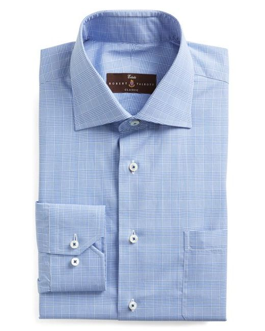 Robert talbott classic fit check dress shirt in blue for for Robert talbott shirts sale