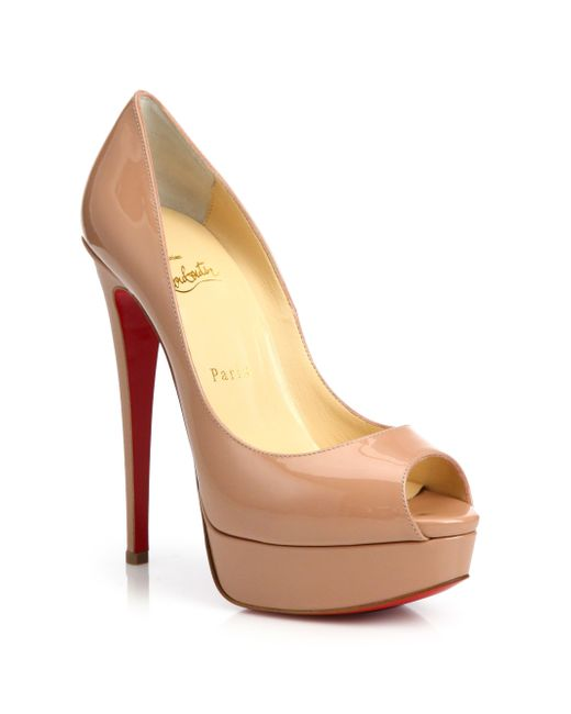 Christian Louboutin   Brown Lady Peep Patent Red Sole Pump   Lyst