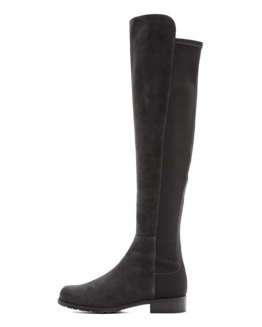 stuart weitzman 5050 suede stretch boots anthracite in