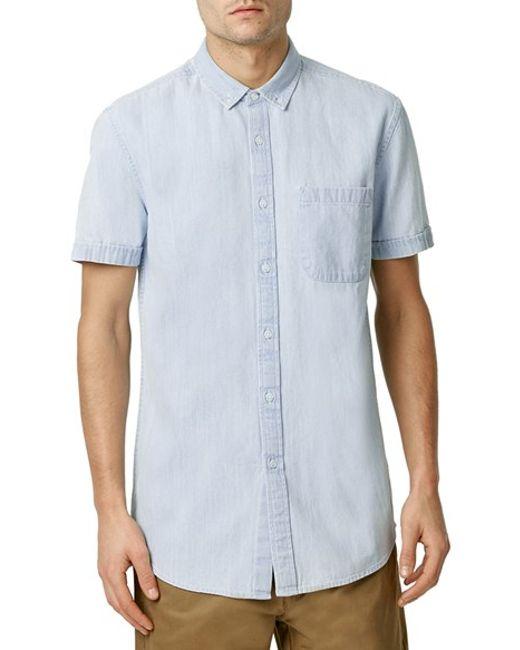 Topman Button Front Short Sleeve Denim Shirt In Blue For