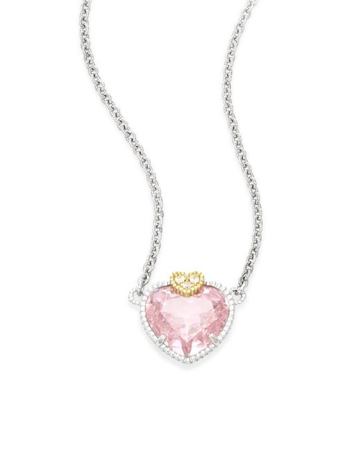Judith Ripka | Metallic Fontaine Pink Crystal, White Sapphire & Sterling Silver Heart Pendant Necklace | Lyst