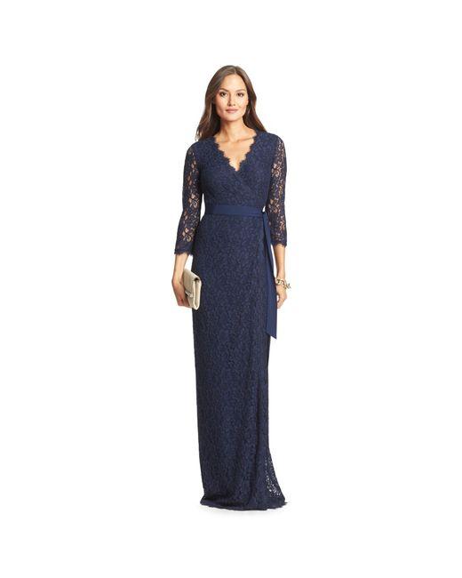 Diane von Furstenberg | Blue Dvf Julianna Lace Long Wrap Dress | Lyst