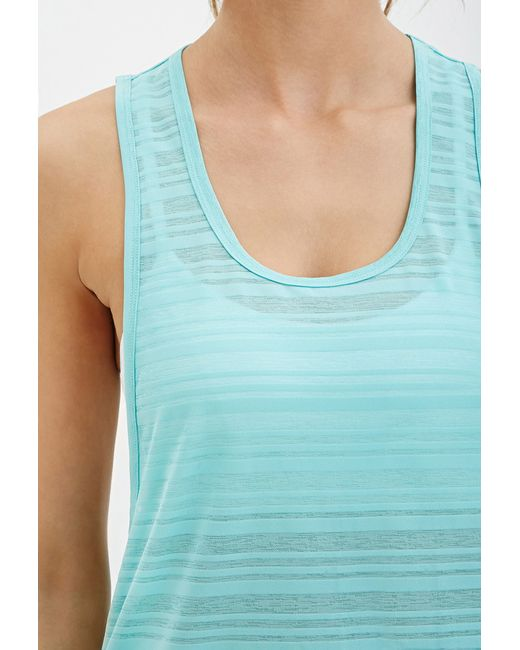 Forever 21 | Blue Active Shadow Stripe Muscle Tee | Lyst