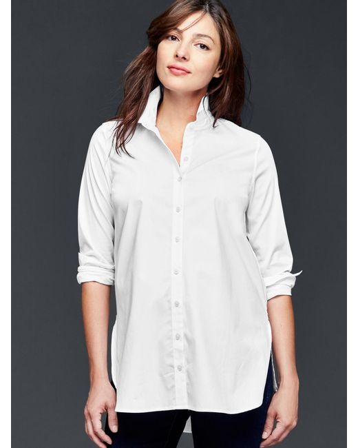 Gap Tailored Poplin Tunic Shirt In White Lyst