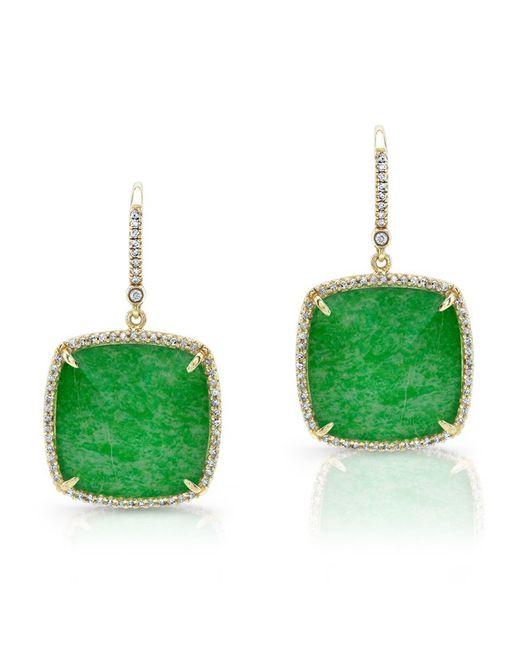 Anne Sisteron - Green 14kt Yellow Gold Jade Cushion Cut Diamond Earrings - Lyst