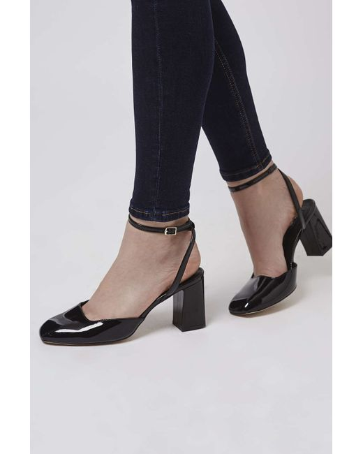 topshop josephine flare heeled leather shoes in black lyst