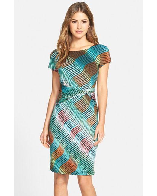Ellen Tracy | Green Print Jersey Sheath Dress | Lyst