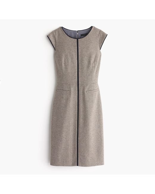 J.Crew | Gray Tall Cap-sleeve Dress In Piped Donegal Wool | Lyst