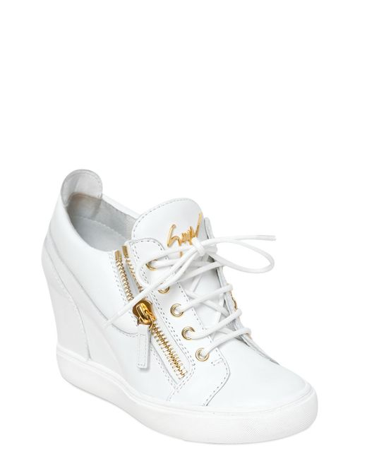 Giuseppe zanotti 90mm Leather Wedge Sneakers in White | Lyst
