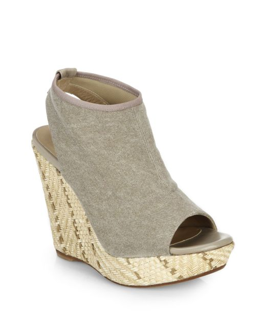 stuart weitzman espadrille wedge sandals in gray grey