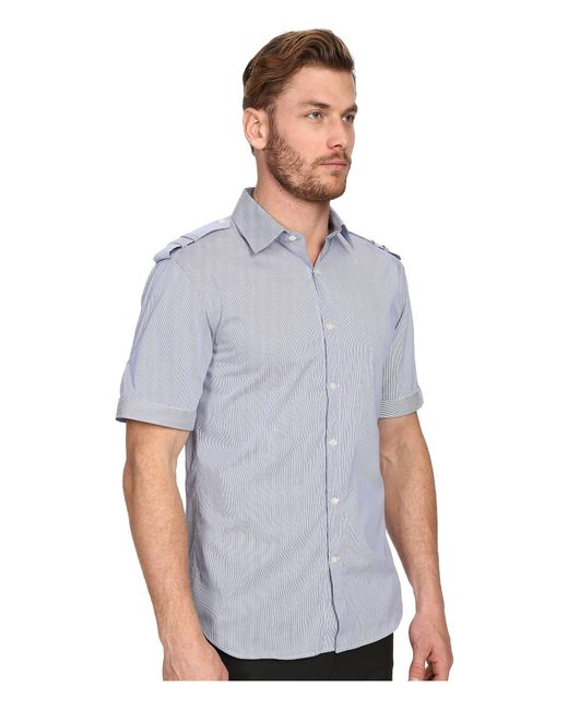 Balmain military button up shirt in blue for men royal for Royals button up shirt
