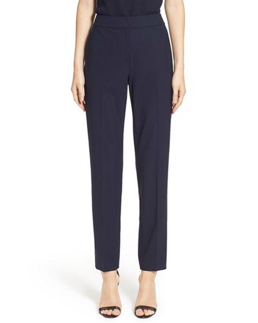 St. John | Blue Emma Tapered-Wool Pants  | Lyst