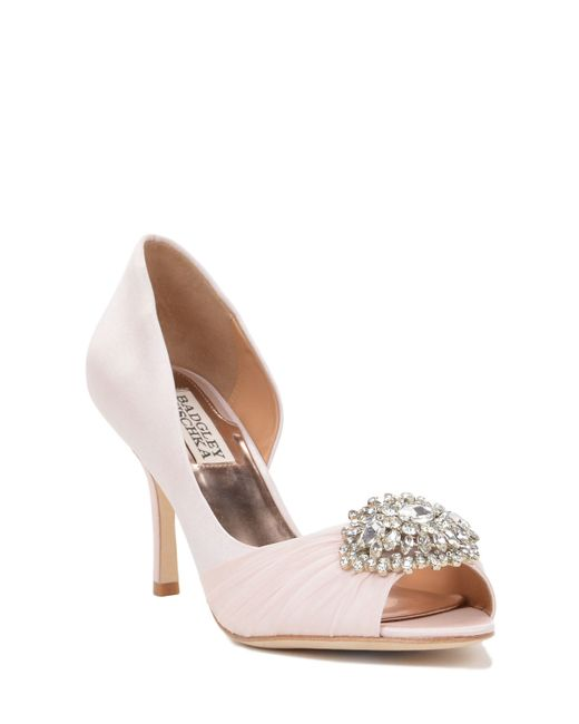 Badgley mischka pearson wide width embellished pump in for Wide width dress shoes for wedding