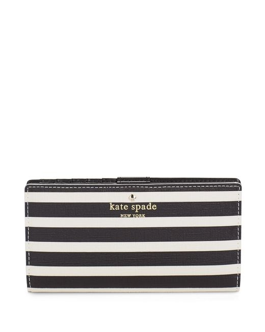 Kate Spade | White Stacy Striped Leather Wallet | Lyst