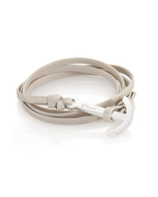 Miansai | Gray Anchor Leather Wrap Bracelet for Men | Lyst
