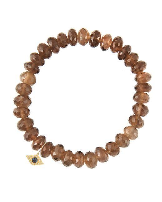 Sydney Evan   Metallic 8Mm Faceted Smoky Quartz Beaded Bracelet With 14K Gold/Diamond Small Starburst Charm (Made To Order)   Lyst