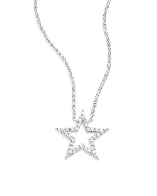 Saks Fifth Avenue | Diamond & 14k White Gold Open Star Necklace | Lyst