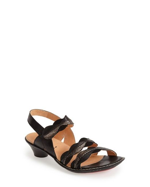 Think! | Black ! 'soso' Leather Slingback Sandal | Lyst