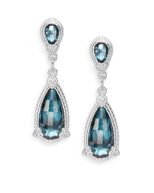 Judith Ripka | Fontaine London Blue Spinel & White Sapphire Pear Drop Earrings | Lyst