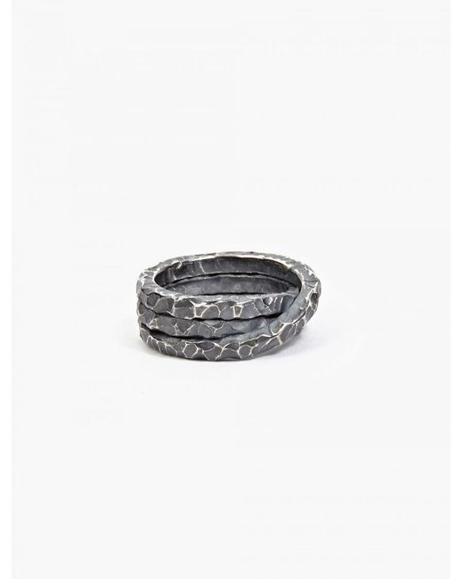 Denis Music | Metallic Oxidised Silver Moebius Triple-cross Ring for Men | Lyst