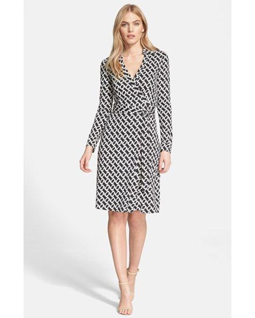 Diane von Furstenberg | Natural 'new Jeanne Two' Print Silk Wrap Dress | Lyst