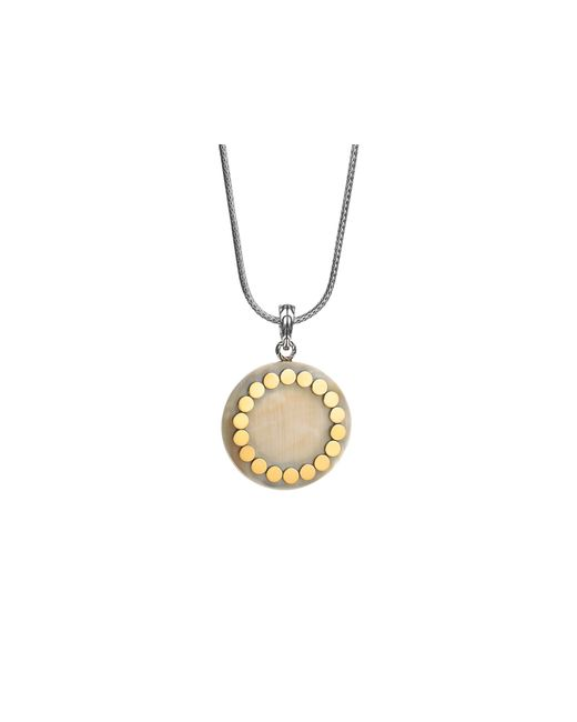 John Hardy | Metallic Sterling Silver And 18k Gold Dot Large Round Locket Pendant Necklace With Buffalo Horn, 36"