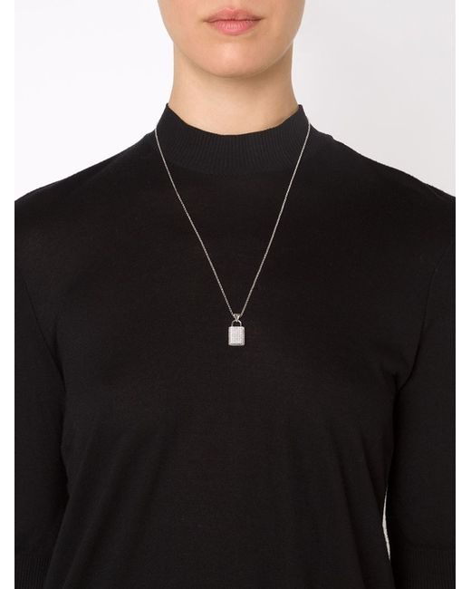 Eddie Borgo | Metallic Pavé Padlock Pendant Necklace | Lyst