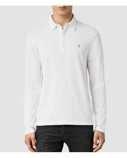 AllSaints | White Brace Long Sleeved Polo Shirt for Men | Lyst
