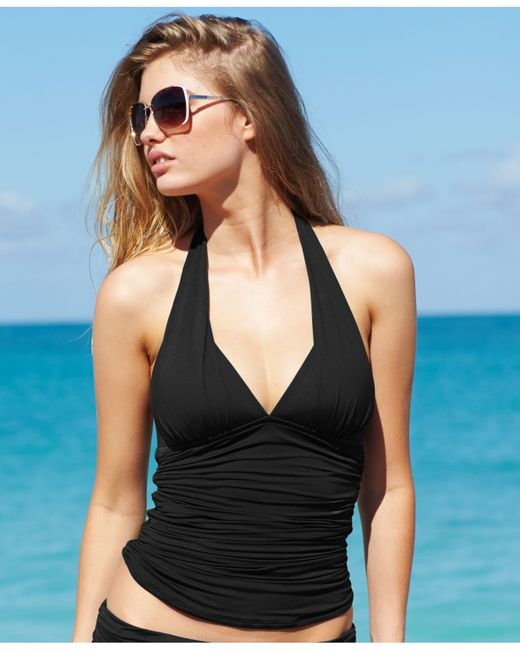 La Blanca Halter Ruched Tankini Top In Black Blue Lyst