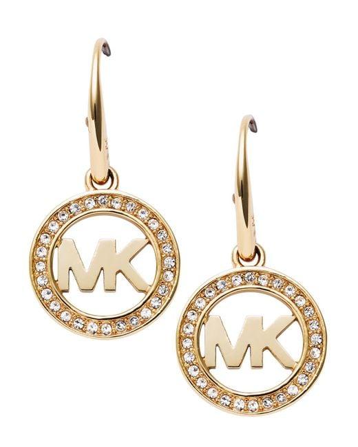 Michael Kors | Metallic Pavé Logo Earrings | Lyst