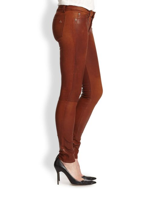 Rag Amp Bone Leather Skinny Jeans In Brown Washed Cognac