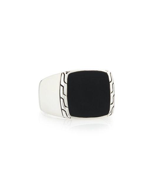 John Hardy | Men's Silver & Black Jade Signet Ring for Men | Lyst