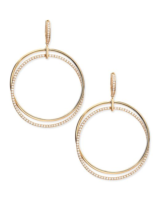 Frederic Sage | 18k Pink Gold & Diamond Interlocking Hoop Earrings | Lyst