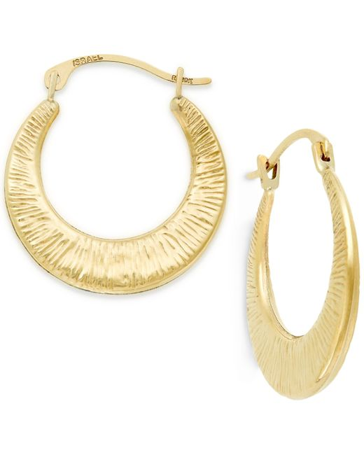 Macy's | Metallic Ribbed Hoop Earrings In 10k Gold | Lyst
