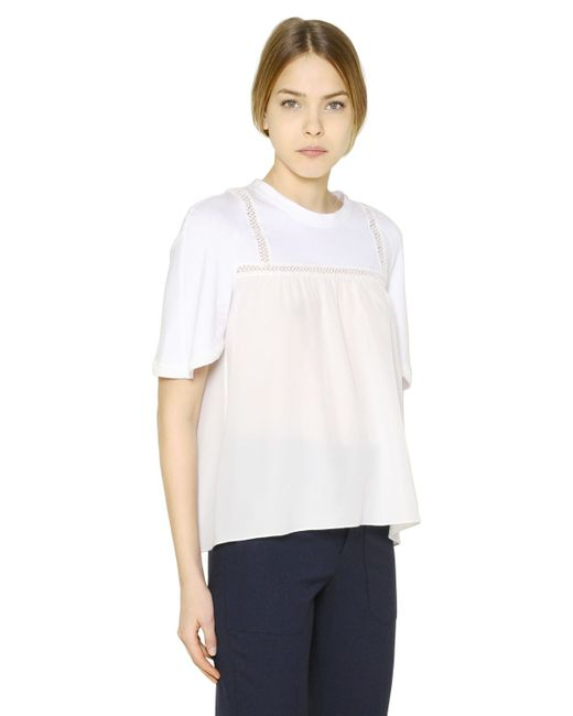Chlo cotton jersey silk crepe t shirt in white lyst for Cotton silk tee shirts
