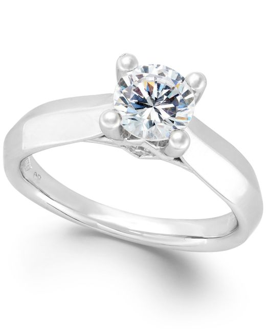 Macy's Certified Diamond Solitaire Engagement Ring In 14k
