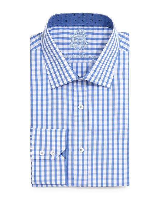 English laundry large gingham check dress shirt in blue for Blue check dress shirt