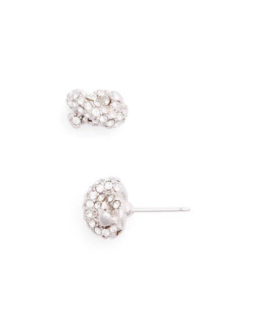 Kate Spade | Metallic Sailor's Knot Pavé Stud Earrings | Lyst
