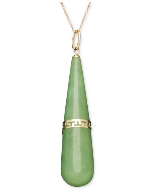 Macy's | Green 14k Gold Necklace, Jade Greek Stripe Teardrop Pendant | Lyst