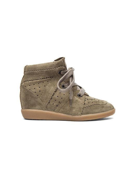 Isabel Marant | Brown Bobby Suede Wedge Sneakers | Lyst