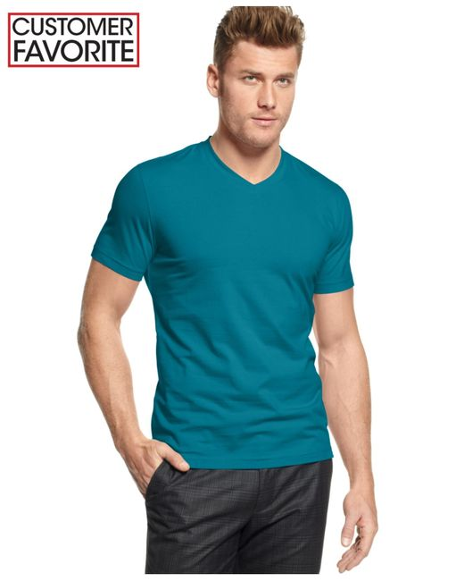 Alfani big and tall stretch v neck t shirt in blue for men for Tall v neck t shirts