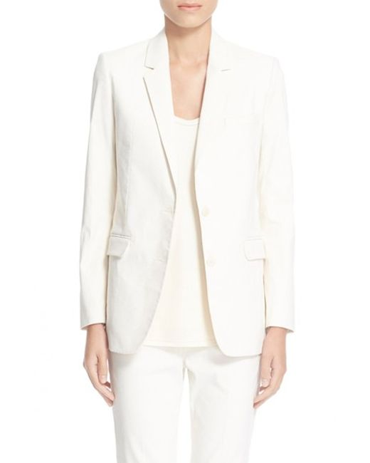 Helmut lang shrunken stretch cotton blend jacket in white for How to stretch wool that has shrunk