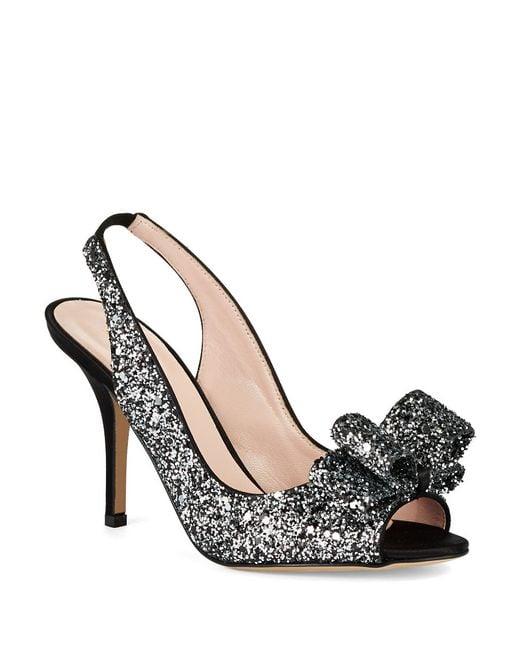 kate spade charm glitter heels in silver black silver lyst