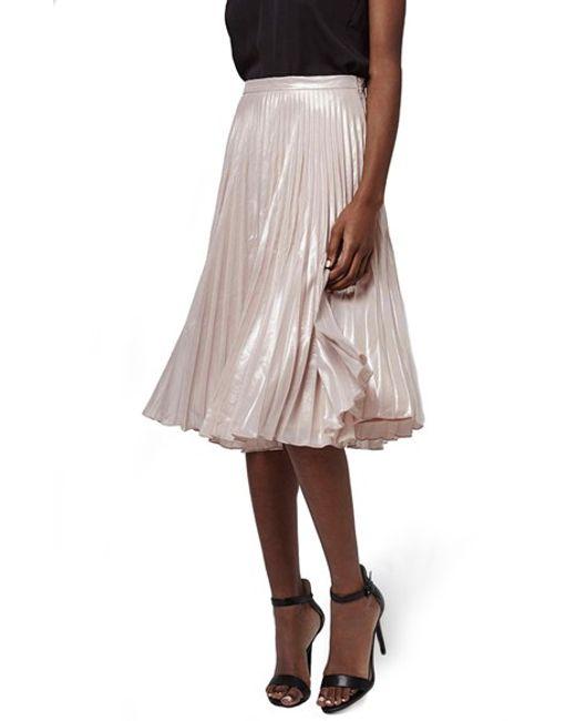 topshop metallic pleated midi skirt in pink light pink