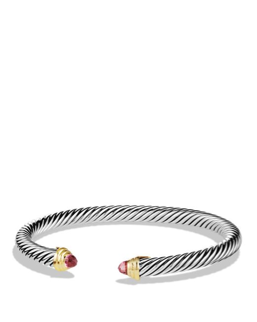 David Yurman | Metallic Cable Classics Bracelet With Pink Tourmaline | Lyst
