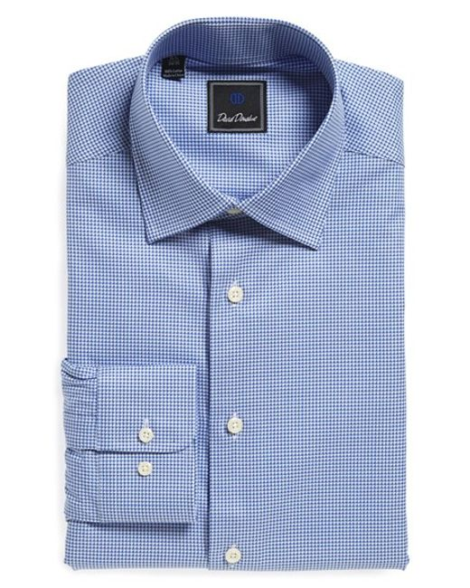 David Donahue Regular Fit Check Dress Shirt In Blue For